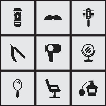 barbershop: Set Of 9 Editable Coiffeur Icons. Includes Symbols Such As Elbow Chair, Scent, Reflector And More. Can Be Used For Web, Mobile, UI And Infographic Design. Illustration
