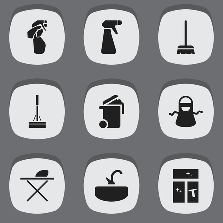 Set Of 9 Editable Cleaning Icons. Includes Symbols Such As Washing Glass, Kitchen Clothing, Whisk And More. Can Be Used For Web, Mobile, UI And Infographic Design.