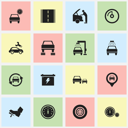 treadle: Set Of 16 Editable Car Icons. Includes Symbols Such As Treadle, Car Fixing, Highway And More. Can Be Used For Web, Mobile, UI And Infographic Design. Illustration