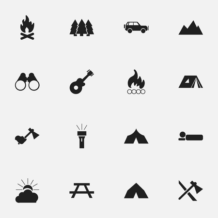 pinnacle: Set Of 16 Editable Travel Icons. Includes Symbols Such As Shelter, Blaze, Fever And More. Can Be Used For Web, Mobile, UI And Infographic Design.
