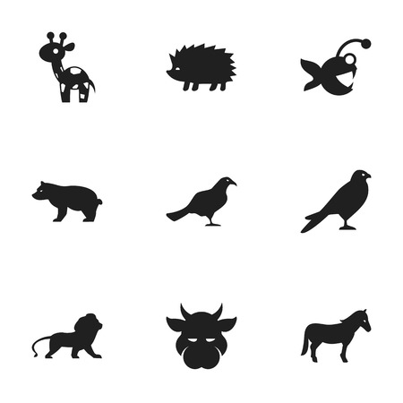brute: Set Of 9 Editable Animal Icons. Includes Symbols Such As Stallion, Fish, Wildcat And More. Can Be Used For Web, Mobile, UI And Infographic Design. Illustration