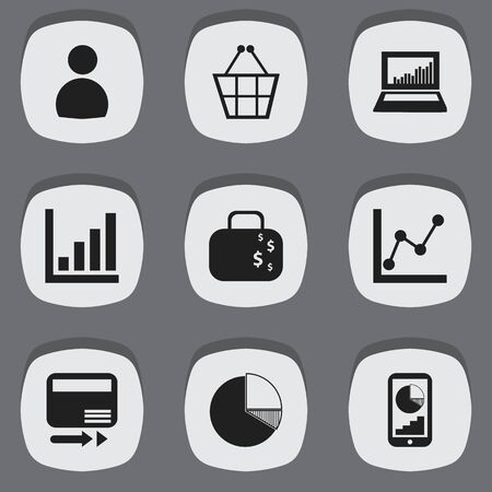 relational: Set Of 9 Editable Analytics Icons. Includes Symbols Such As Trading Purse, Graph Information, Statistic And More. Can Be Used For Web, Mobile, UI And Infographic Design.