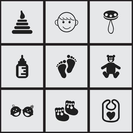 Conjunto de 9 iconos editables. Incluye símbolos como delantal, torre, niños felices y más. Puede ser utilizado para diseño web, móvil, interfaz de usuario e infografía.