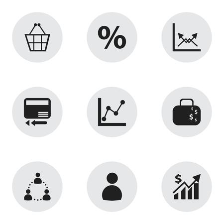 9 編集可能な統計アイコンのセットです。クレジット カード、%、グラフ情報などの記号が含まれています。Web、モバイル、UI、インフォ グラフィッ  イラスト・ベクター素材