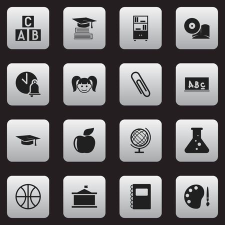 Set Of 16 Editable Science Icons. Includes Symbols Such As Staple, Bookcase, School Board And More. Can Be Used For Web, Mobile, UI And Infographic Design.