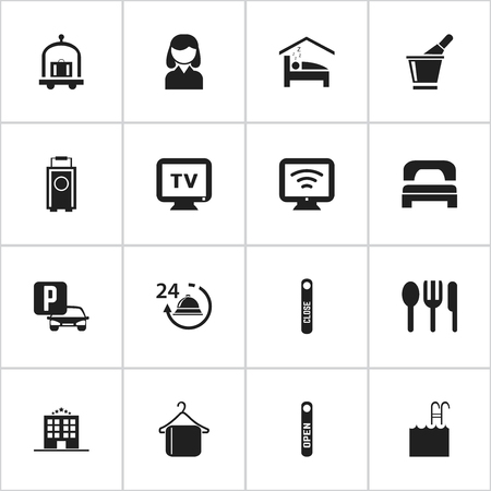 sex traffic: Set Of 16 Editable Plaza Icons. Includes Symbols Such As Door Closed, Restaurant, Monitor And More. Can Be Used For Web, Mobile, UI And Infographic Design. Illustration