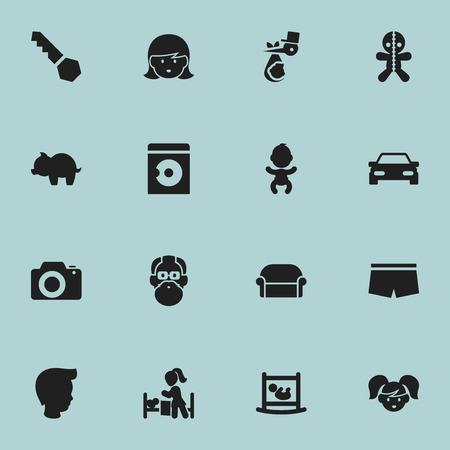 Set Of 16 Editable Folks Icons. Includes Symbols Such As Daughter, Canape, Swimming Trunks And More. Can Be Used For Web, Mobile, UI And Infographic Design. Ilustração