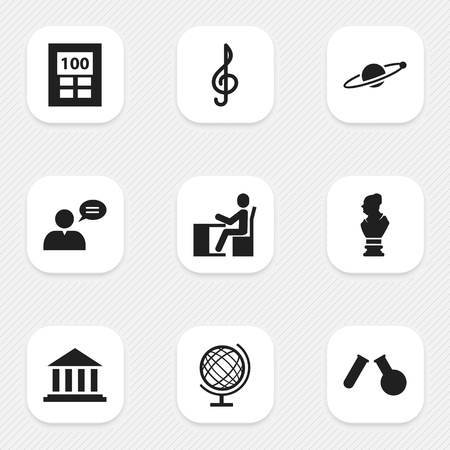Set Of 9 Editable Science Icons. Includes Symbols Such As Schoolboy, Quaver, Earth Planet And More. Can Be Used For Web, Mobile, UI And Infographic Design.