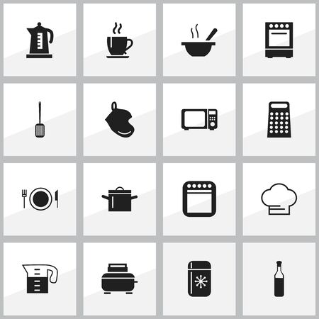 rasp: Set Of 16 Editable Cooking Icons. Includes Symbols Such As Kitchen Shovel, Pan, Bowl And More. Can Be Used For Web, Mobile, UI And Infographic Design.