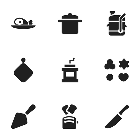 Set Of 9 Editable Food Icons. Includes Symbols Such As Knife, Shortcake, Cookware And More. Can Be Used For Web, Mobile, UI And Infographic Design.