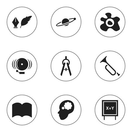 Ensemble de 9 icônes de l'Université modifiable. Comprend des symboles tels que l'astrologie, l'omelette, l'outil de mathématiques et plus encore. Peut être utilisé pour le Web, mobile, l'interface utilisateur et la conception infographique.
