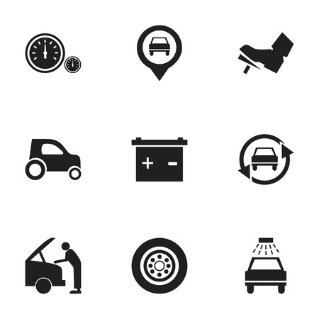 treadle: Set Of 9 Editable Vehicle Icons. Includes Symbols Such As Pointer, Accumulator, Treadle And More. Can Be Used For Web, Mobile, UI And Infographic Design. Illustration