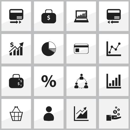 編集可能な統計の 16 のアイコンのセットです。伝送、利益、グラフ情報などの記号が含まれています。Web、モバイル、UI、インフォ グラフィック デ