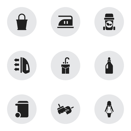 brooming: Set Of 9 Editable Cleanup Icons. Includes Symbols Such As Sink, Brooming, Trash Bin And More. Can Be Used For Web, Mobile, UI And Infographic Design.