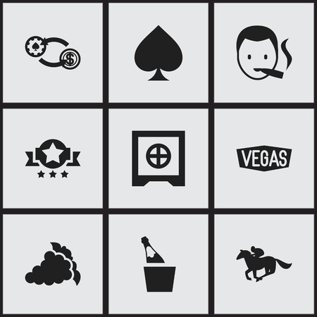 dime: Set Of 9 Editable Game Icons. Includes Symbols Such As Badge, Bottle In Bucket, Game Card And More. Can Be Used For Web, Mobile, UI And Infographic Design.
