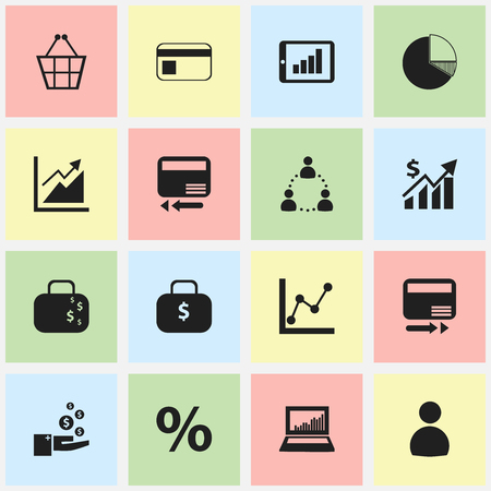 Set Of 16 Editable Analytics Icons. Includes Symbols Such As Pay Redeem, Graph Information, Percent And More. Can Be Used For Web, Mobile, UI And Infographic Design.