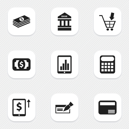 courthouse: Set Of 9 Editable Financial Icons. Includes Symbols Such As Bar Graph, Money Card, Shopping Pushcart And More. Can Be Used For Web, Mobile, UI And Infographic Design. Illustration
