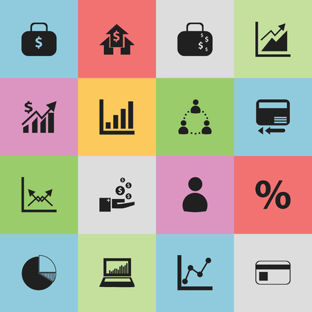 relational: Set Of 16 Editable Statistic Icons. Includes Symbols Such As Cash Briefcase, Bank Payment, User And More. Can Be Used For Web, Mobile, UI And Infographic Design.
