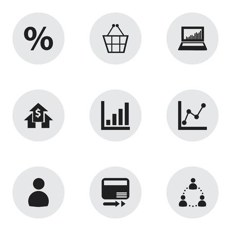 9 編集可能な論理アイコンのセットです。銀行家、グラフ情報や % などの記号が含まれます。Web、モバイル、UI、インフォ グラフィック デザインに