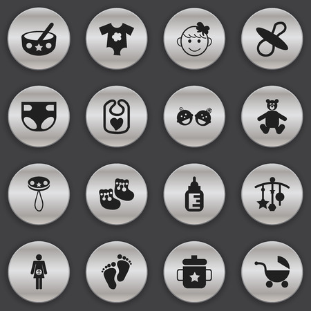 booty: Set Of 16 Editable  Icons. Includes Symbols Such As Spoon, Small Dresses, Soothers And More. Can Be Used For Web, Mobile, UI And Infographic Design.