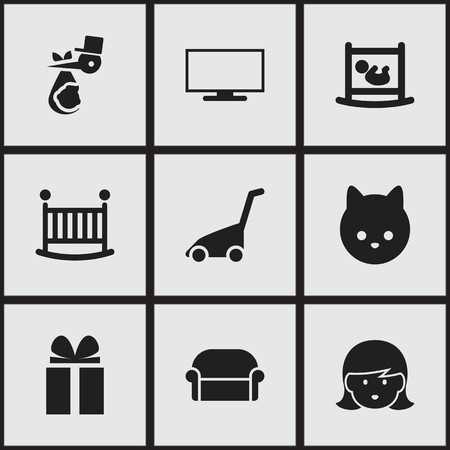 folks: Set Of 9 Editable Folks Icons. Includes Symbols Such As Infant Bed, Child, Grass Cutting Machine And More. Can Be Used For Web, Mobile, UI And Infographic Design.