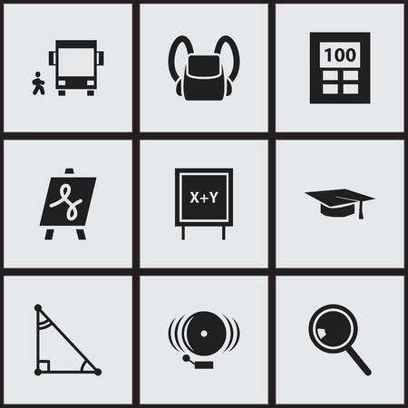 Ensemble de 9 icônes universitaires modifiables. Comprend des symboles tels que Schoolbag, Blackboard, Ring, etc. Peut être utilisé pour Web, Mobile, UI et conception infographique.