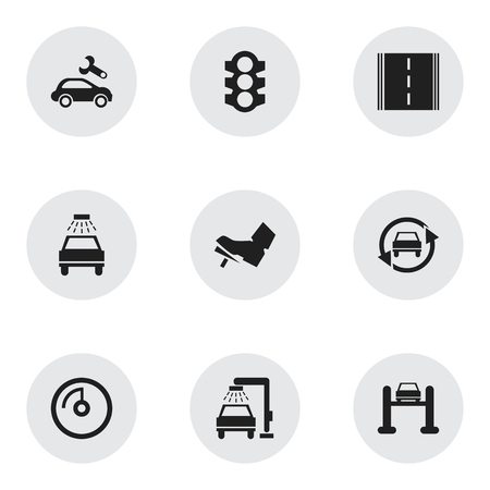 treadle: Set Of 9 Editable Traffic Icons. Includes Symbols Such As Treadle, Stoplight, Car Lave And More. Can Be Used For Web, Mobile, UI And Infographic Design. Illustration