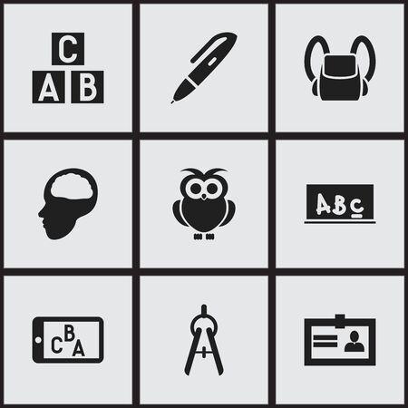 74443725 - Conjunto de 9 iconos de educación Editable. Incluye símbolos  como aves nocturnas 7f25457cf9b