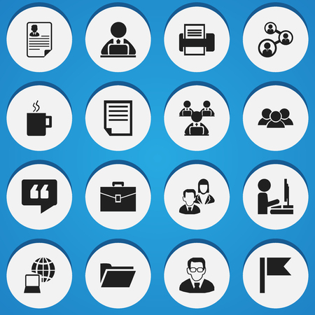 Set Of 16 Editable Company Icons. Includes Symbols Such As Professor, Work At The Computer, Worker With Laptop And More. Can Be Used For Web, Mobile, UI And Infographic Design.