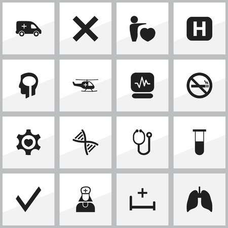 liquid x: Set Of 16 Editable Clinic Icons. Includes Symbols Such As Intelligence, Analysis Container, Heart And More. Can Be Used For Web, Mobile, UI And Infographic Design. Illustration