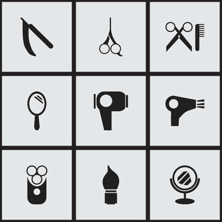 barbershop: Set Of 9 Editable Barber Icons. Includes Symbols Such As Blade, Reflector, Desiccator And More. Can Be Used For Web, Mobile, UI And Infographic Design. Illustration