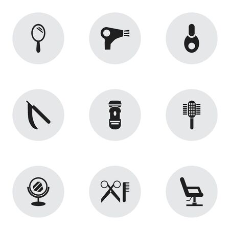 barbershop: Set Of 9 Editable Hairstylist Icons. Includes Symbols Such As Elbow Chair, Reflector, Barber Tools And More. Can Be Used For Web, Mobile, UI And Infographic Design.