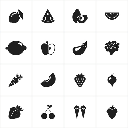 Set Of 16 Editable Berry Icons. Includes Symbols Such As Melon Slice, Morello Cherry, Chili And More. Can Be Used For Web, Mobile, UI And Infographic Design.
