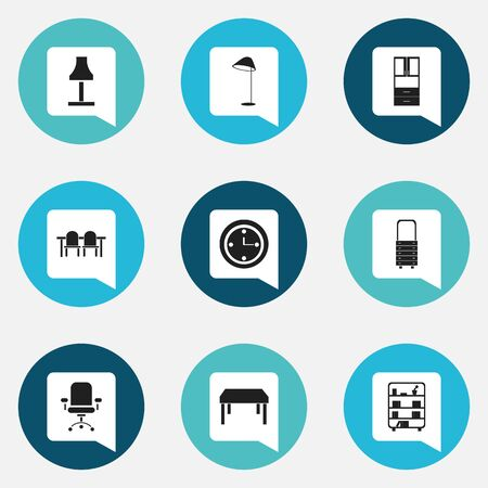 furnishings: Set Of 9 Editable Furnishings Icons. Includes Symbols Such As Bookshelf, Wall Mirror, Wooden Table And More. Can Be Used For Web, Mobile, UI And Infographic Design.