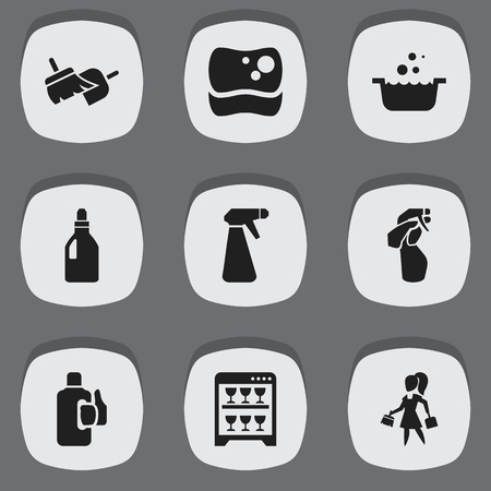 Set Of 9 Editable Hygiene Icons. Includes Symbols Such As Washing Tool, Tub, Brooming And More. Can Be Used For Web, Mobile, UI And Infographic Design. Illustration