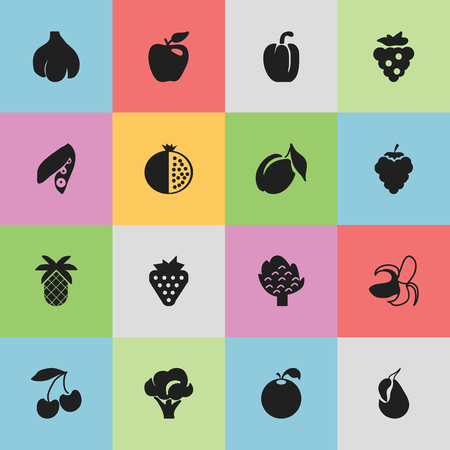 Set Of 16 Editable Vegetarian Icons. Includes Symbols Such As Sweet Pepper, Avocado, Honeycrisp And More. Can Be Used For Web, Mobile, UI And Infographic Design.