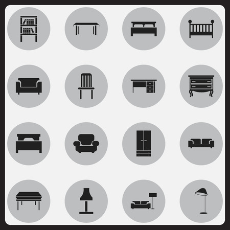 furnishings: Set Of 16 Editable Furnishings Icons. Includes Symbols Such As Child Cot, Illuminant, Couch And More. Can Be Used For Web, Mobile, UI And Infographic Design. Illustration