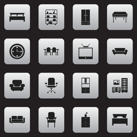 furnishings: Set Of 16 Editable Furniture Icons. Includes Symbols Such As Bearings, Canape, Restaurant Table And More. Can Be Used For Web, Mobile, UI And Infographic Design. Illustration