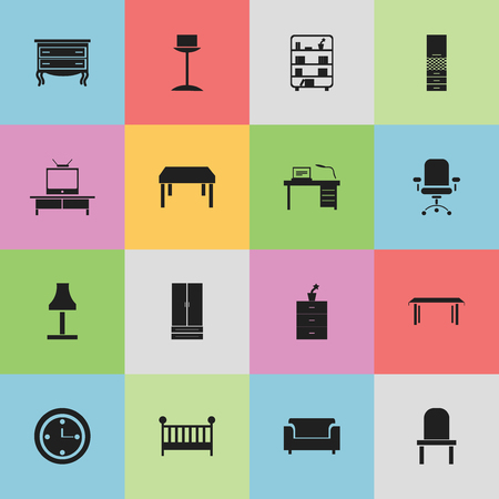 furnishings: Set Of 16 Editable Furnishings Icons. Includes Symbols Such As Material Cupboard, Watch, Bookshelf And More. Can Be Used For Web, Mobile, UI And Infographic Design. Illustration