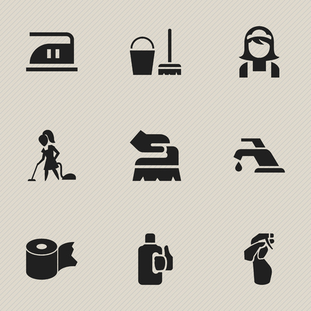 Set Of 9 Editable Dry-Cleaning Icons. Includes Symbols Such As Floor Dusting, Faucet, Smoothing And More. Can Be Used For Web, Mobile, UI And Infographic Design. Illustration