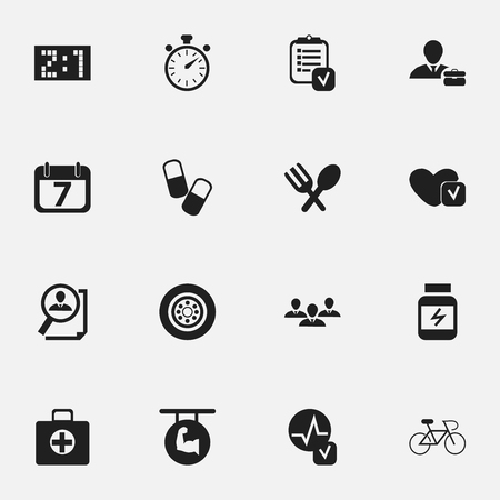 cycle suit: Set Of 16 Editable Mixed Icons. Includes Symbols Such As Tire, Chronometer, Employee And More. Can Be Used For Web, Mobile, UI And Infographic Design. Illustration