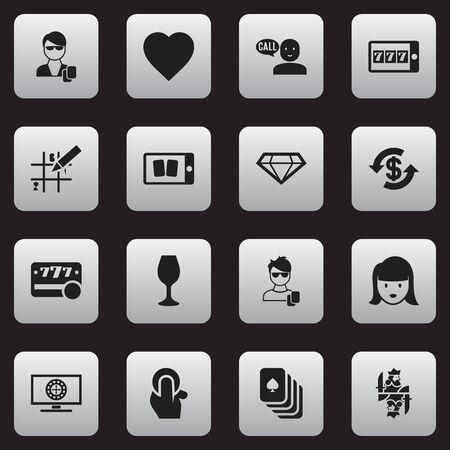 16 の編集可能なギャンブルのアイコンのセットです。パズル、女顔、愛などの記号が含まれています。Web、モバイル、UI、インフォ グラフィック デ  イラスト・ベクター素材