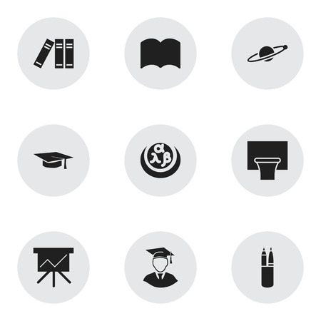 Set Of 9 Editable Education Icons. Includes Symbols Such As Bookshelf, Astrology, Graduation Hat And More. Can Be Used For Web, Mobile, UI And Infographic Design. Ilustração