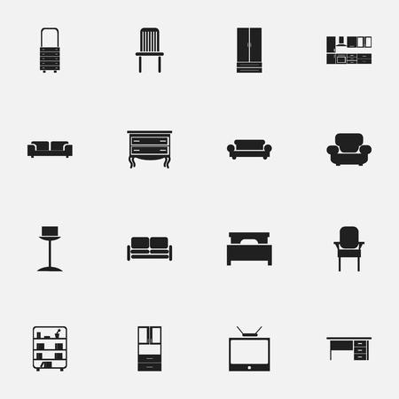 Set van 16 bewerkbare meubels pictogrammen. Bevat symbolen zoals bankschroef, boekenplank, kruk en meer. Kan worden gebruikt voor Web, Mobile, UI en Infographic Design.