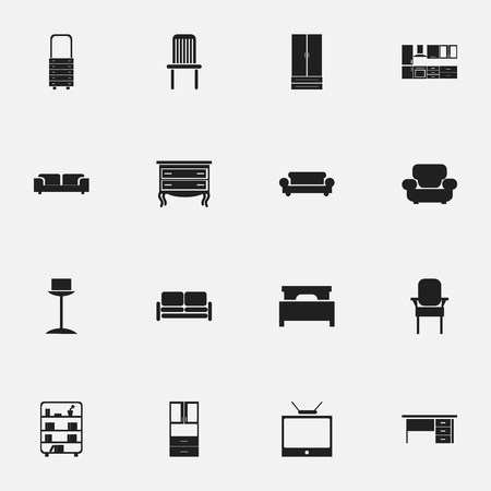 Set Of 16 Editable Furnishings Icons. Includes Symbols Such As Settee, Bookshelf, Stool And More. Can Be Used For Web, Mobile, UI And Infographic Design.