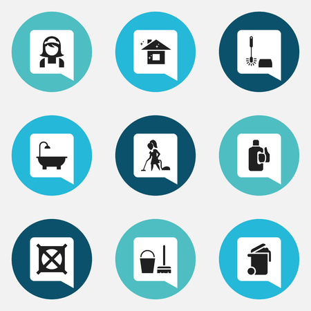 Set Of 9 Editable Cleanup Icons. Includes Symbols Such As Container, Pure Home, Wc Cleaning And More. Can Be Used For Web, Mobile, UI And Infographic Design. Illustration