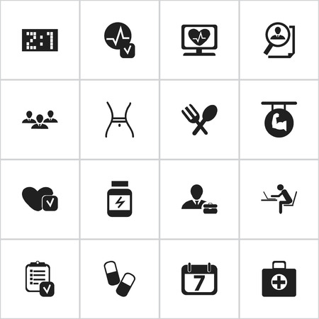 muscular control: Set Of 16 Editable Complicated Icons. Includes Symbols Such As Biceps, Search, Programmer And More. Can Be Used For Web, Mobile, UI And Infographic Design. Illustration