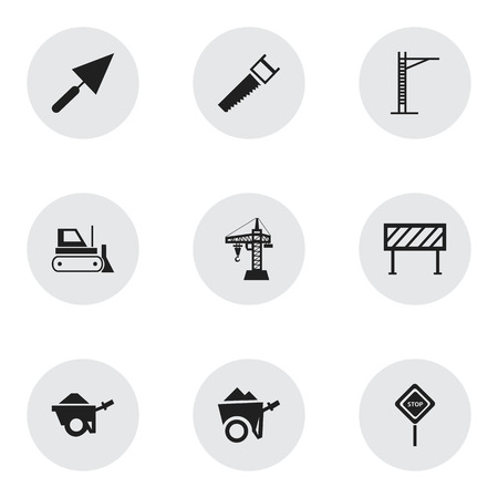 plow: Set Of 9 Editable Construction Icons. Includes Symbols Such As Trolley, Hoisting Machine, Barrier And More. Can Be Used For Web, Mobile, UI And Infographic Design.