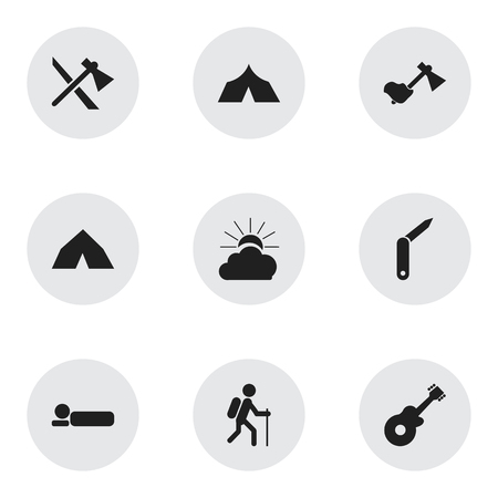 gait: Set Of 9 Editable Travel Icons. Includes Symbols Such As Gait, Bedroll, Refuge And More. Can Be Used For Web, Mobile, UI And Infographic Design. Illustration