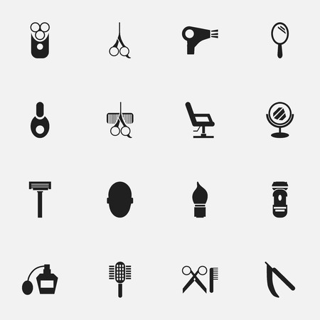 barbershop: Set Of 16 Editable Barbershop Icons. Includes Symbols Such As Hairdresser Set, Cut Tool, Barber Tools And More. Can Be Used For Web, Mobile, UI And Infographic Design.